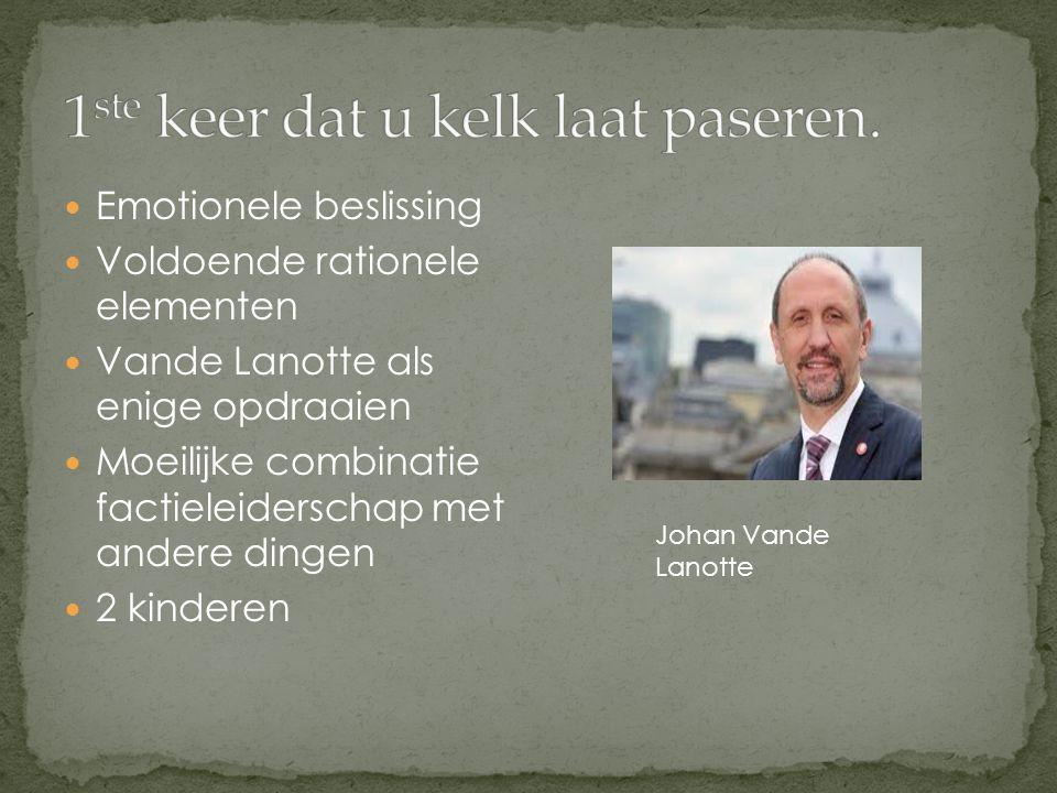 Emotionele beslissing Voldoende rationele elementen Vande Lanotte als enige opdraaien Moeilijke combinatie factieleiderschap met andere dingen 2 kinderen Johan Vande Lanotte