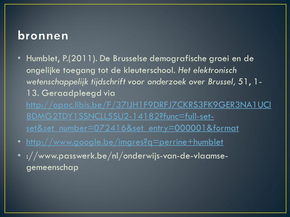 Humblet, P.(2011). De Brusselse demografische groei en de ongelijke toegang tot de kleuterschool.