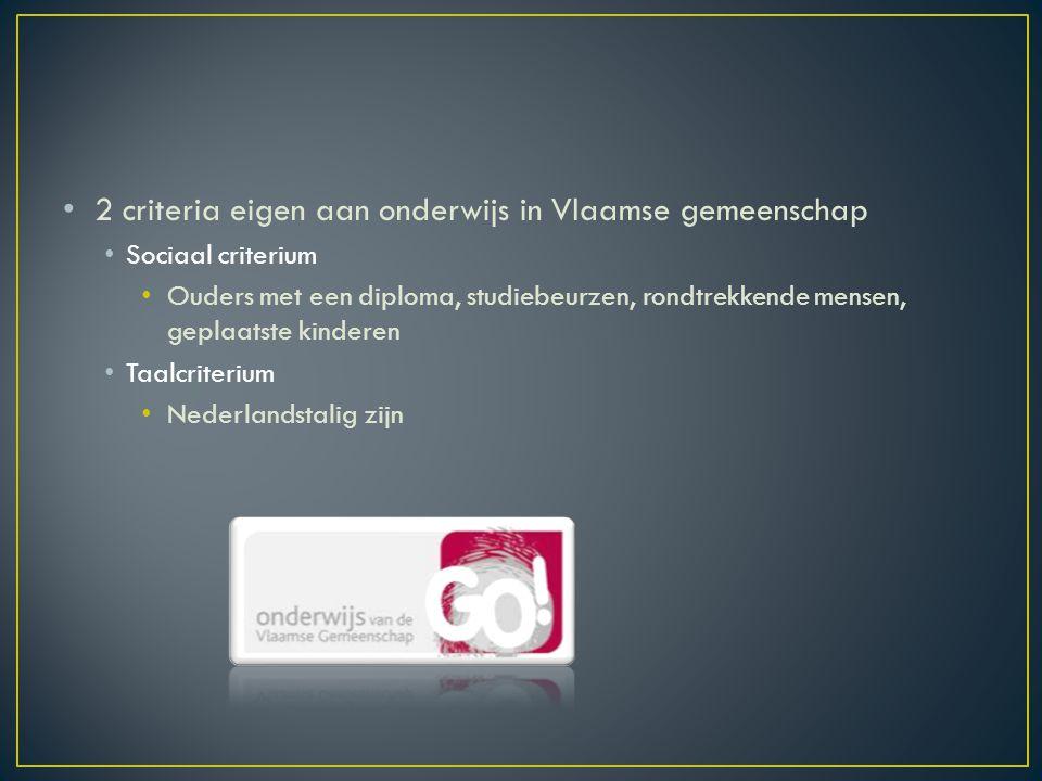 2 criteria eigen aan onderwijs in Vlaamse gemeenschap Sociaal criterium Ouders met een diploma, studiebeurzen, rondtrekkende mensen, geplaatste kinderen Taalcriterium Nederlandstalig zijn