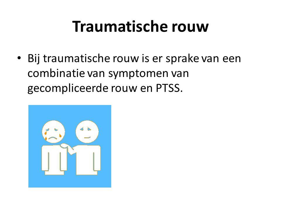 Gecompliceerde rouw - Oorzakelijk criterium - Separatieangst - Emotionele reactie - symptomen minstens 6 maanden aanwezig - Beperking in functioneren - Medische exclusie - geen depressieve -, gegeneraliseerde angstoornis of Posttraumatische stress-stoornis