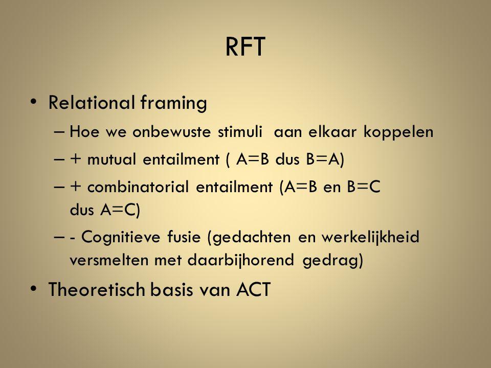 RFT Relational framing – Hoe we onbewuste stimuli aan elkaar koppelen – + mutual entailment ( A=B dus B=A) – + combinatorial entailment (A=B en B=C dus A=C) – - Cognitieve fusie (gedachten en werkelijkheid versmelten met daarbijhorend gedrag) Theoretisch basis van ACT