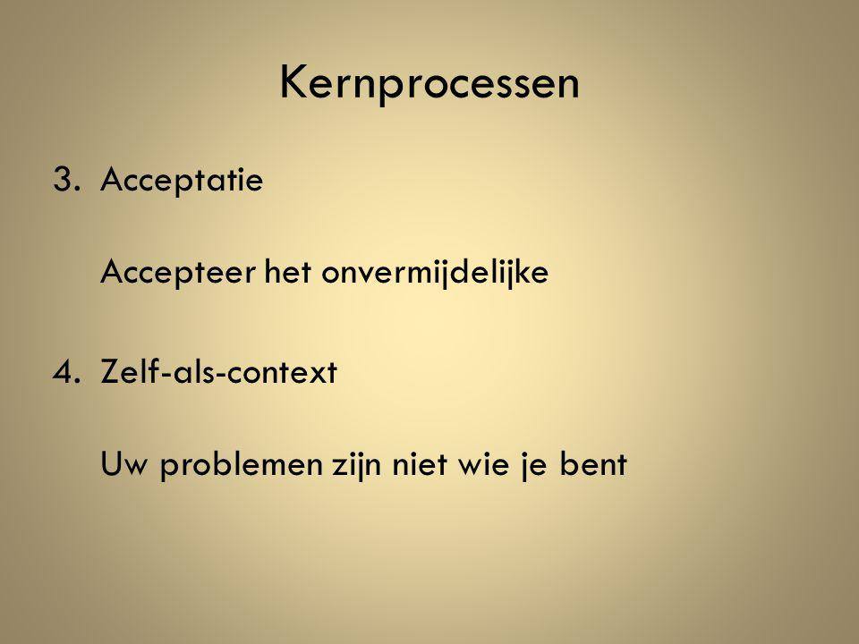 3.Acceptatie Accepteer het onvermijdelijke 4.Zelf-als-context Uw problemen zijn niet wie je bent Kernprocessen