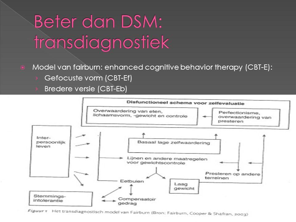  Model van fairburn: enhanced cognitive behavior therapy (CBT-E): › Gefocuste vorm (CBT-Ef) › Bredere versie (CBT-Eb)