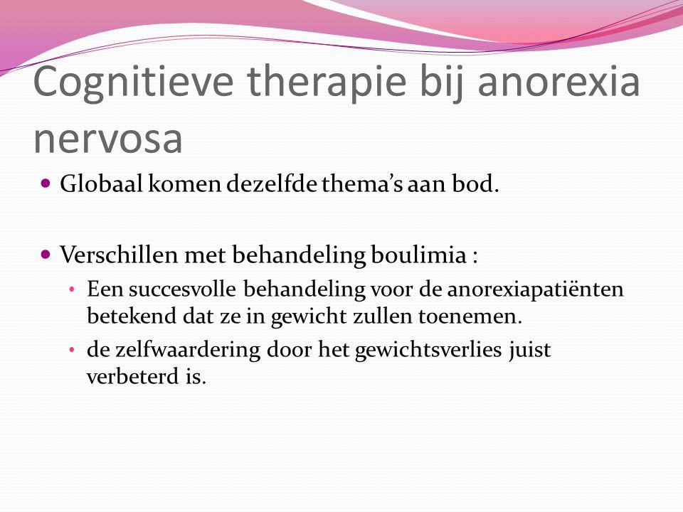 Cognitieve therapie bij anorexia nervosa Globaal komen dezelfde thema's aan bod.