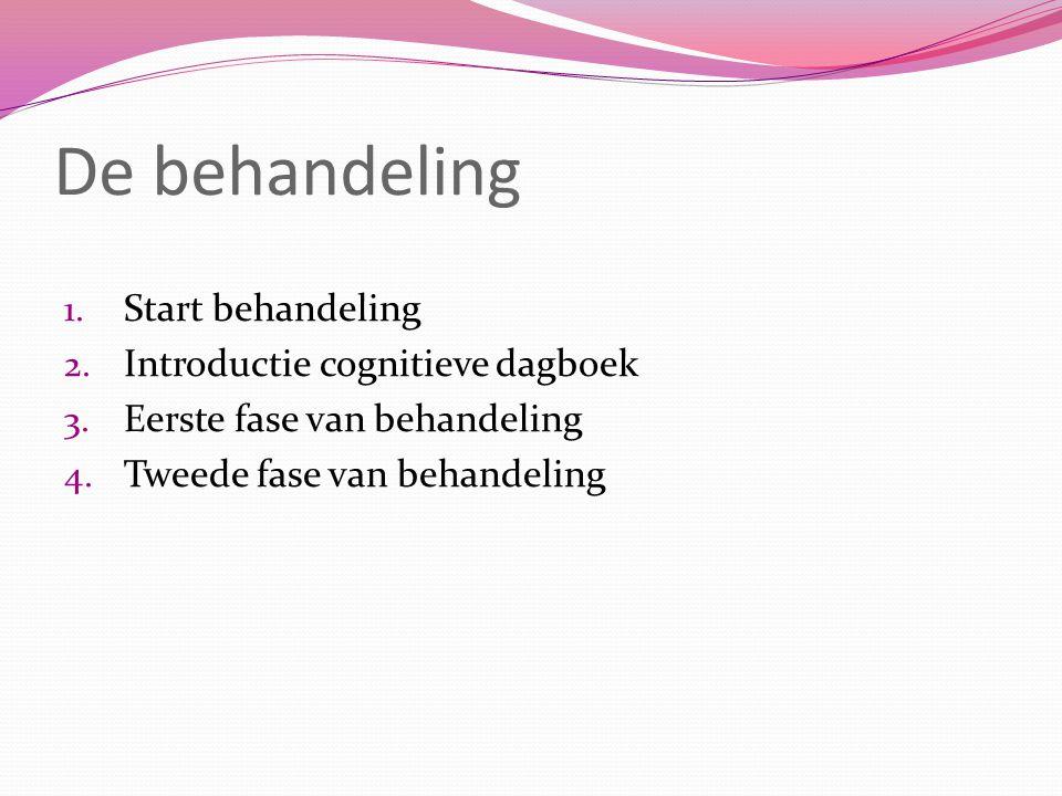 De behandeling 1.Start behandeling 2. Introductie cognitieve dagboek 3.