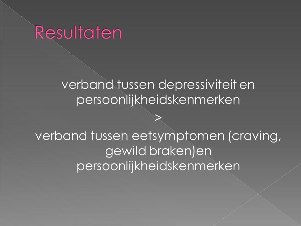 verband tussen depressiviteit en persoonlijkheidskenmerken > verband tussen eetsymptomen (craving, gewild braken)en persoonlijkheidskenmerken