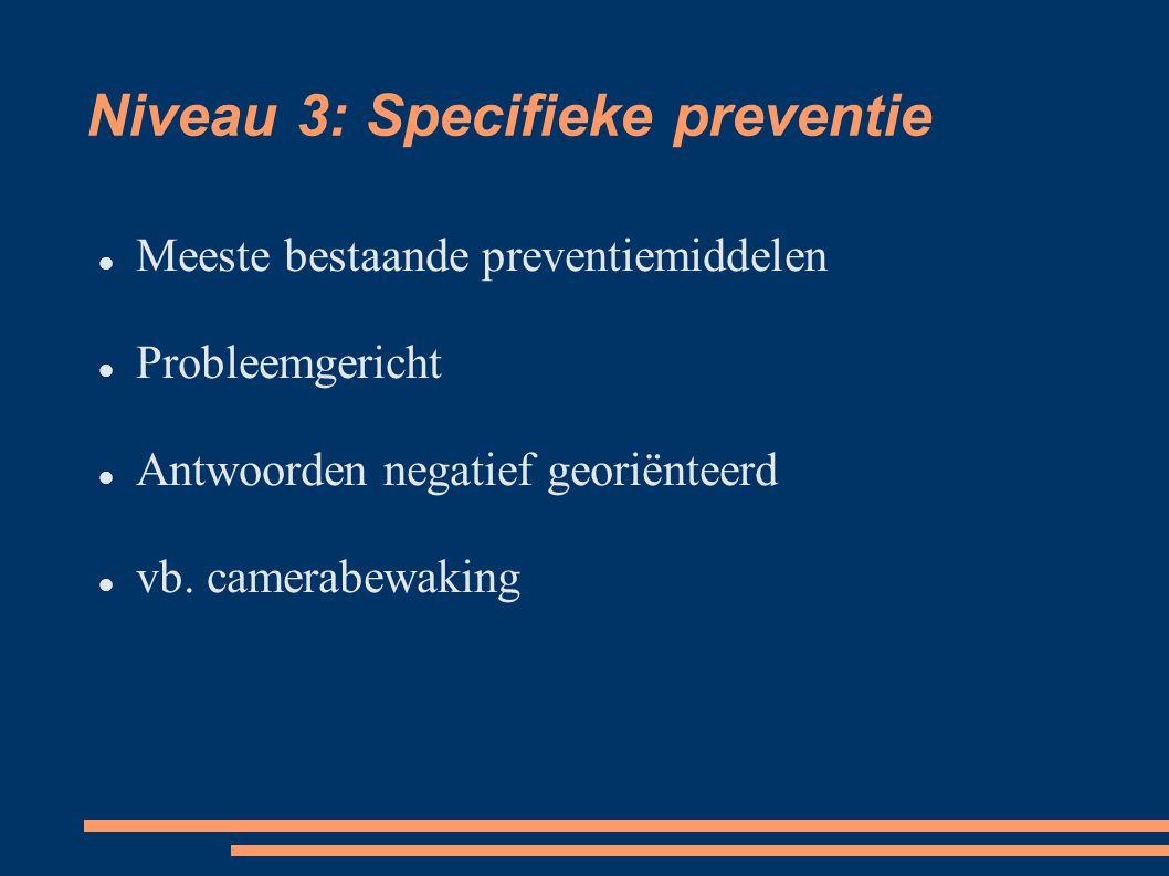 Niveau 3: Specifieke preventie Meeste bestaande preventiemiddelen Probleemgericht Antwoorden negatief georiënteerd vb.