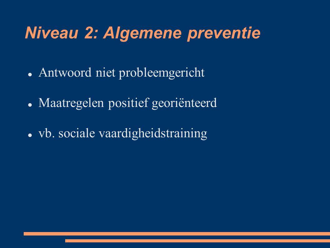 Niveau 1: Fundamentele preventie Centraal bevordering van de leefkwaliteit Maatregelen positief georiënteerd.