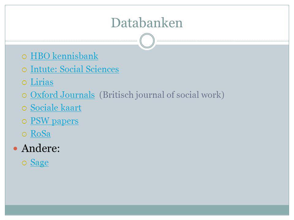 Databanken  HBO kennisbank HBO kennisbank  Intute: Social Sciences Intute: Social Sciences  Lirias Lirias  Oxford Journals (Britisch journal of so