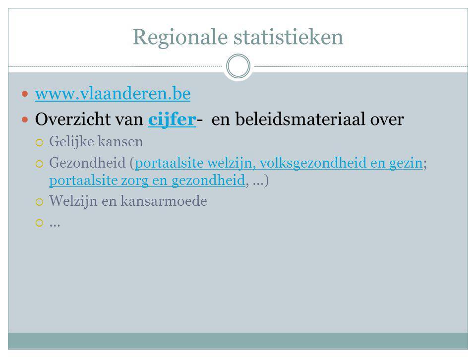 Regionale statistieken www.vlaanderen.be Overzicht van cijfer- en beleidsmateriaal overcijfer  Gelijke kansen  Gezondheid (portaalsite welzijn, volk