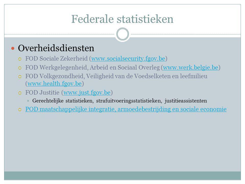 Federale statistieken Overheidsdiensten  FOD Sociale Zekerheid (www.socialsecurity.fgov.be)www.socialsecurity.fgov.be  FOD Werkgelegenheid, Arbeid e