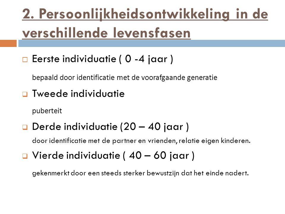 2. Persoonlijkheidsontwikkeling in de verschillende levensfasen  Eerste individuatie ( 0 -4 jaar ) bepaald door identificatie met de voorafgaande gen