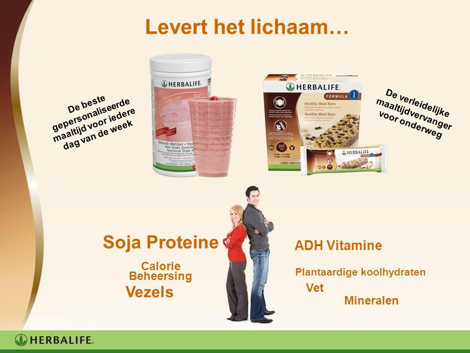 Levert het lichaam… Soja Proteine Calorie Beheersing ADH Vitamine Plantaardige koolhydraten Mineralen Vezels Vet De beste gepersonaliseerde maaltijd v