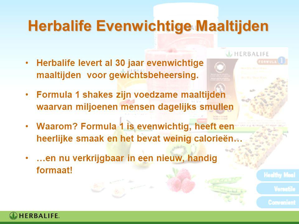 Herbalife Evenwichtige Maaltijden Herbalife levert al 30 jaar evenwichtige maaltijden voor gewichtsbeheersing. Formula 1 shakes zijn voedzame maaltijd
