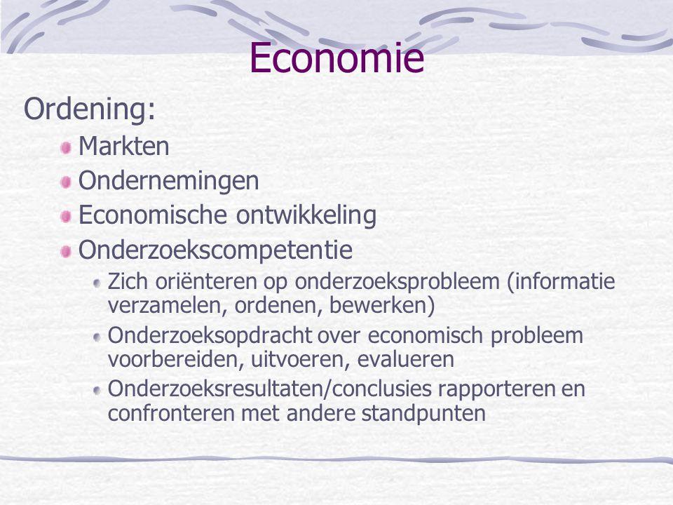 Economie Ordening: Markten Ondernemingen Economische ontwikkeling Onderzoekscompetentie Zich oriënteren op onderzoeksprobleem (informatie verzamelen, ordenen, bewerken) Onderzoeksopdracht over economisch probleem voorbereiden, uitvoeren, evalueren Onderzoeksresultaten/conclusies rapporteren en confronteren met andere standpunten