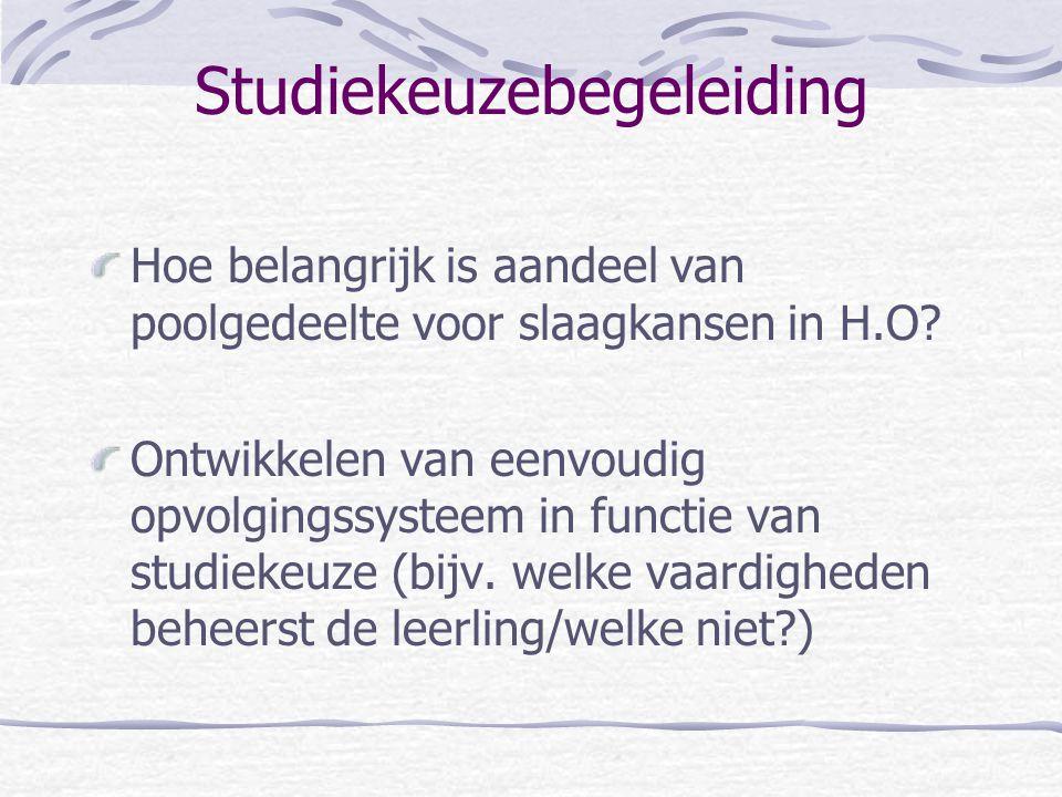 Studiekeuzebegeleiding Hoe belangrijk is aandeel van poolgedeelte voor slaagkansen in H.O.