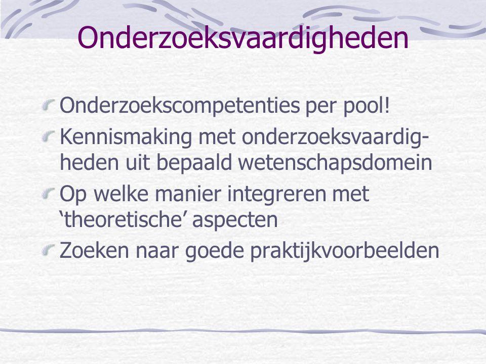Onderzoeksvaardigheden Onderzoekscompetenties per pool.