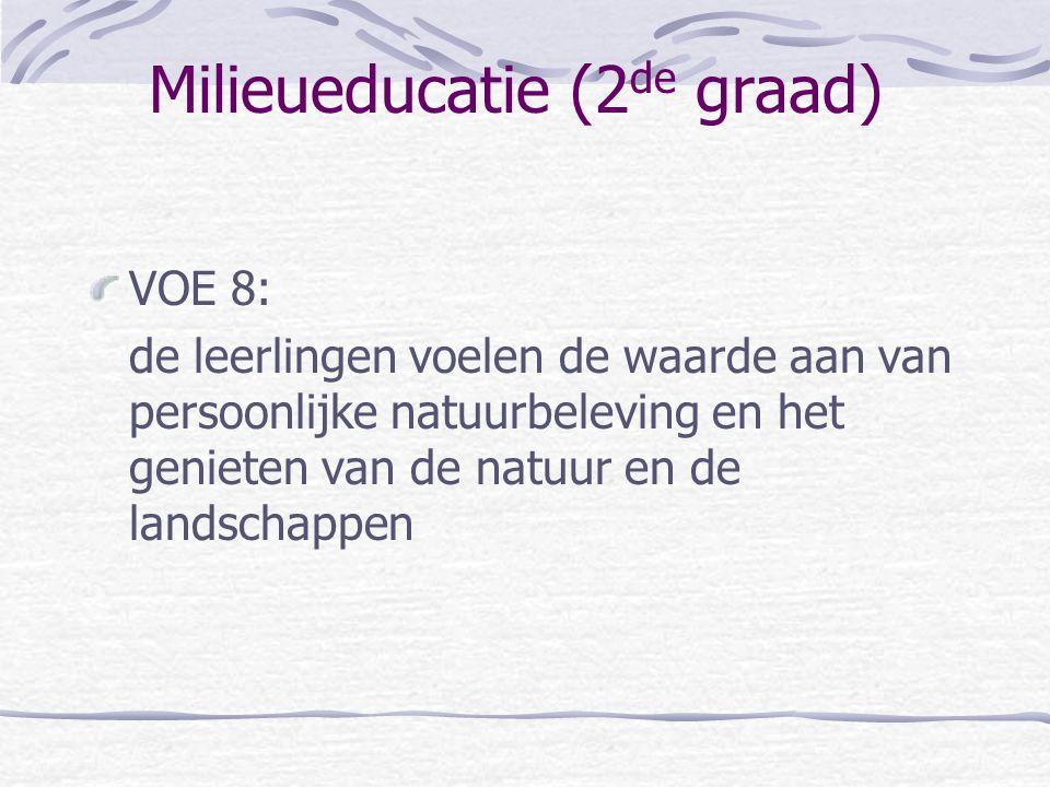 Milieueducatie (2 de graad) VOE 8: de leerlingen voelen de waarde aan van persoonlijke natuurbeleving en het genieten van de natuur en de landschappen