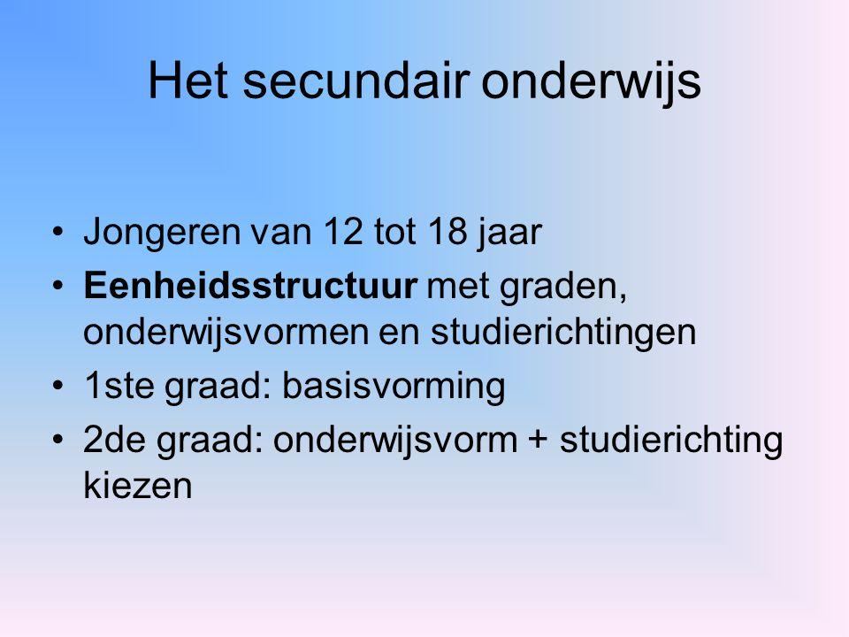 Het secundair onderwijs Jongeren van 12 tot 18 jaar Eenheidsstructuur met graden, onderwijsvormen en studierichtingen 1ste graad: basisvorming 2de gra