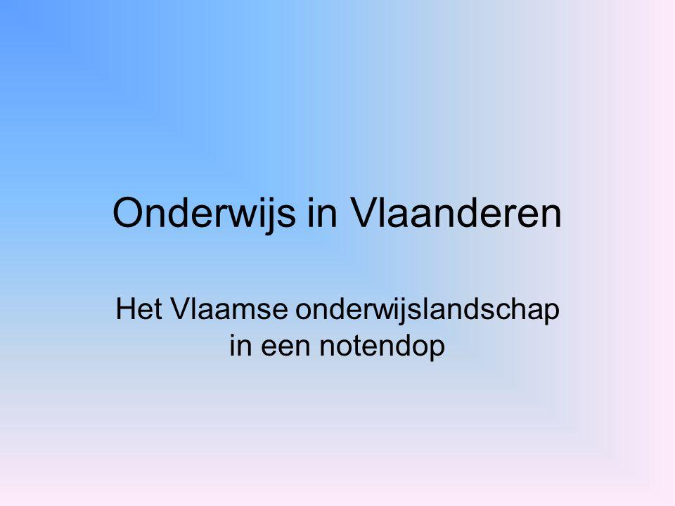 Bronnen http://www.ond.vlaanderen.be/overzichten/noten dop.pdfhttp://www.ond.vlaanderen.be/overzichten/noten dop.pdf http://www.eurydice.org/Eurybase/Application/fra meset.asp?country=BN&language=VOhttp://www.eurydice.org/Eurybase/Application/fra meset.asp?country=BN&language=VO http://taalunieversum.org/onderwijs/termen Paul VAN HAUWERMEIREN, Femke SIMONIS; Waar Nederlands de voertaal is; Van In; Lier; 1995