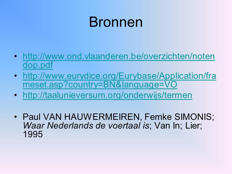Bronnen http://www.ond.vlaanderen.be/overzichten/noten dop.pdfhttp://www.ond.vlaanderen.be/overzichten/noten dop.pdf http://www.eurydice.org/Eurybase/