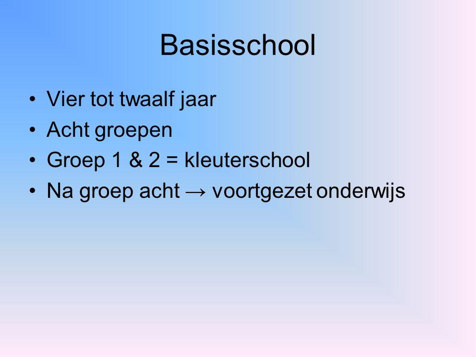 Basisschool Vier tot twaalf jaar Acht groepen Groep 1 & 2 = kleuterschool Na groep acht → voortgezet onderwijs