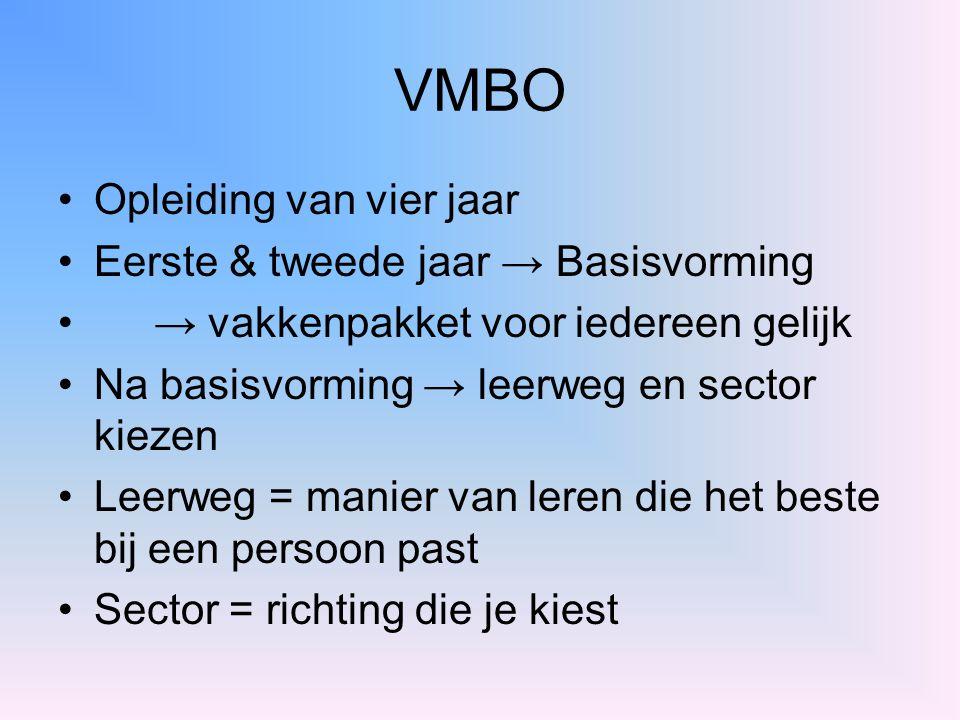 VMBO Opleiding van vier jaar Eerste & tweede jaar → Basisvorming → vakkenpakket voor iedereen gelijk Na basisvorming → leerweg en sector kiezen Leerwe