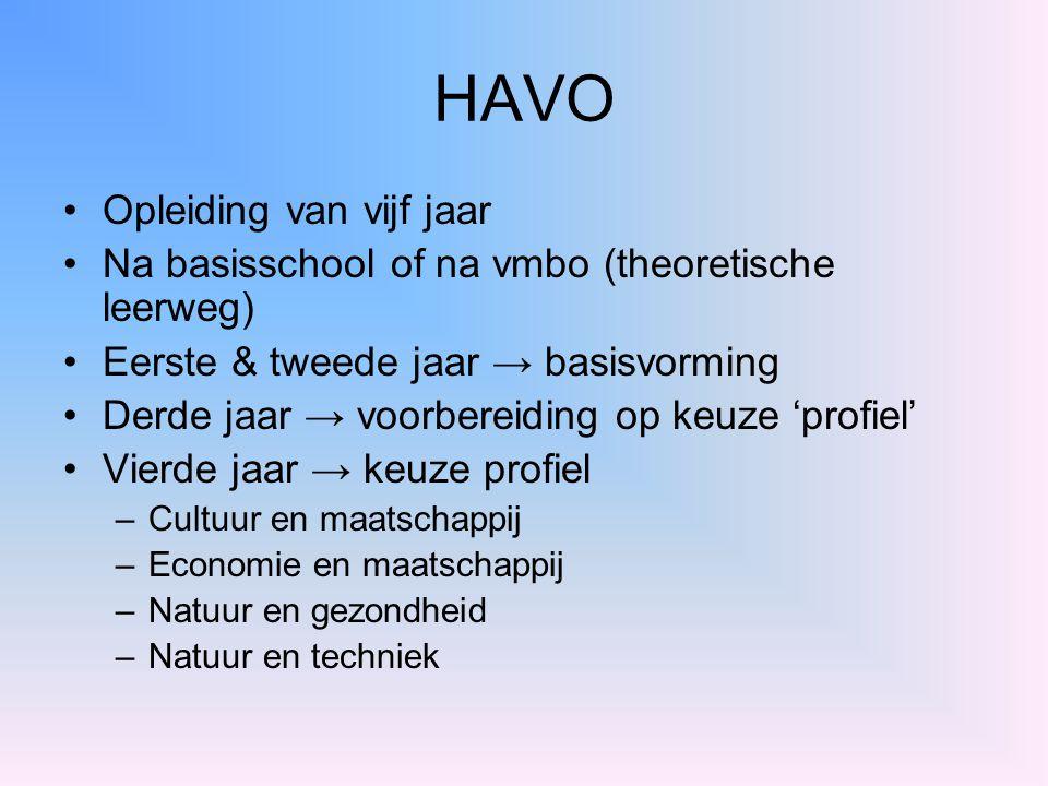 HAVO Opleiding van vijf jaar Na basisschool of na vmbo (theoretische leerweg) Eerste & tweede jaar → basisvorming Derde jaar → voorbereiding op keuze