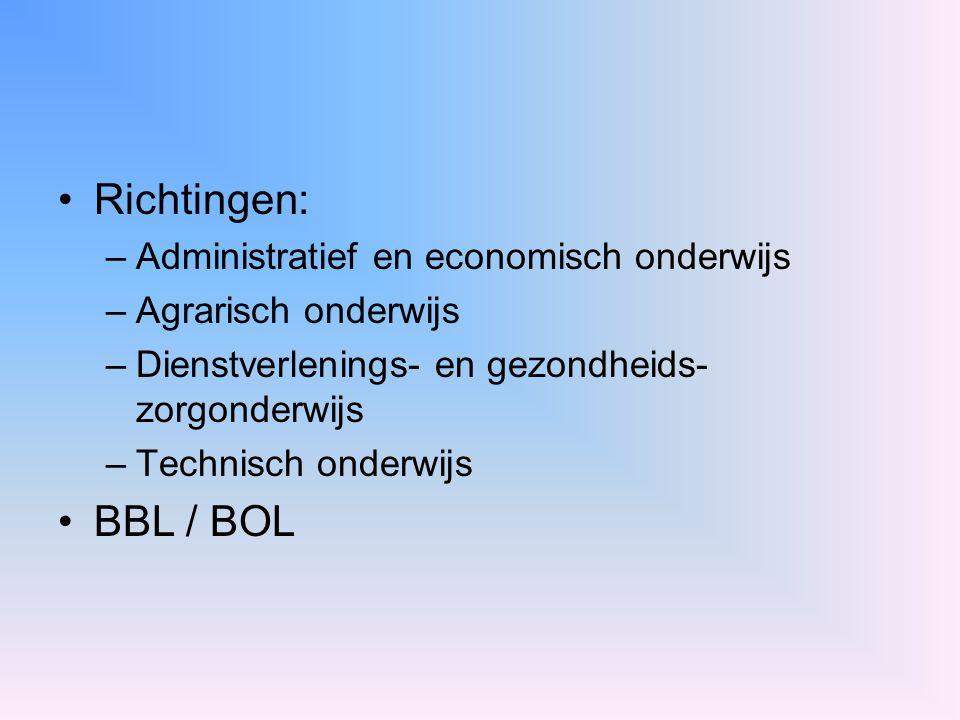 Richtingen: –Administratief en economisch onderwijs –Agrarisch onderwijs –Dienstverlenings- en gezondheids- zorgonderwijs –Technisch onderwijs BBL / B