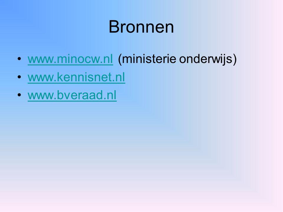 Bronnen www.minocw.nl (ministerie onderwijs)www.minocw.nl www.kennisnet.nl www.bveraad.nl