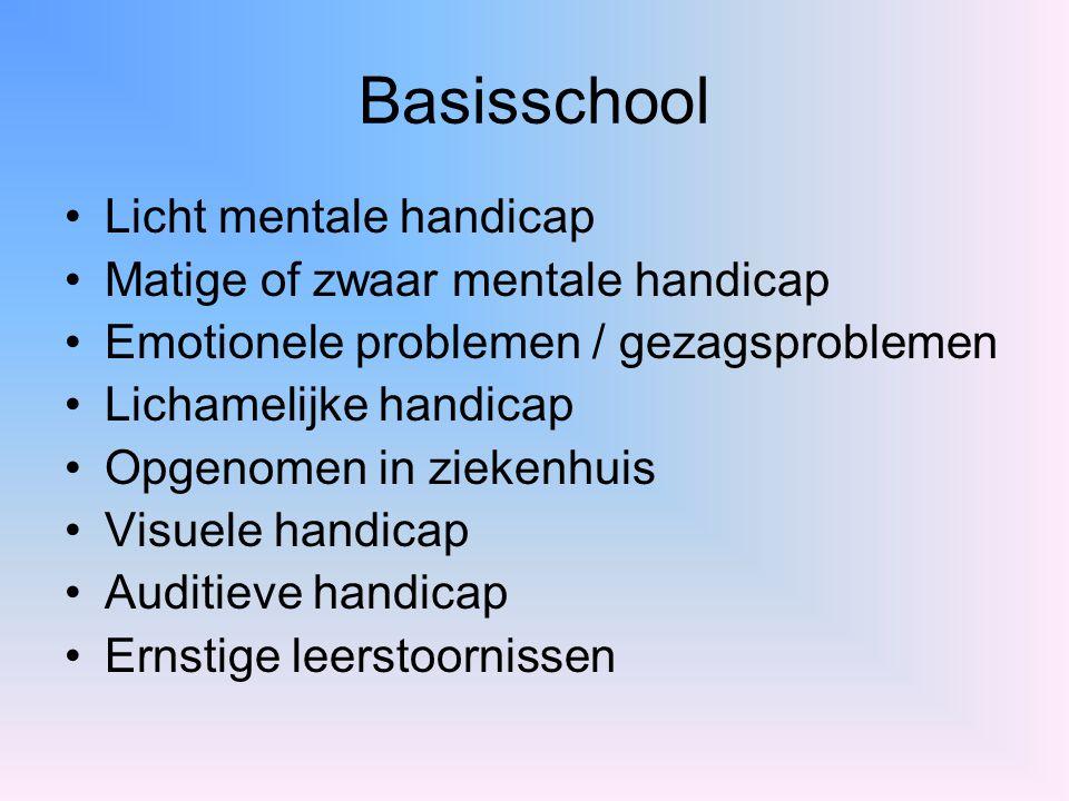 Basisschool Licht mentale handicap Matige of zwaar mentale handicap Emotionele problemen / gezagsproblemen Lichamelijke handicap Opgenomen in ziekenhu