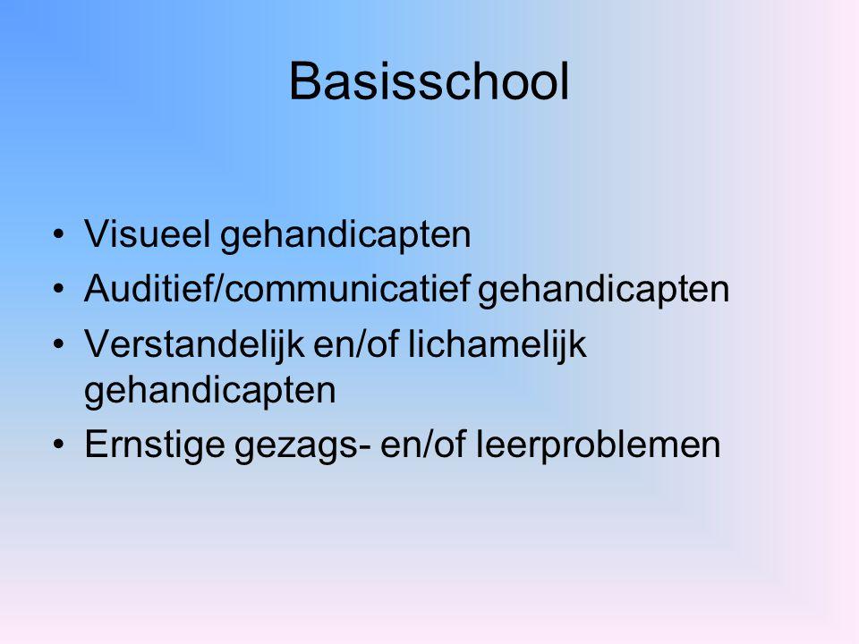 Basisschool Visueel gehandicapten Auditief/communicatief gehandicapten Verstandelijk en/of lichamelijk gehandicapten Ernstige gezags- en/of leerproble