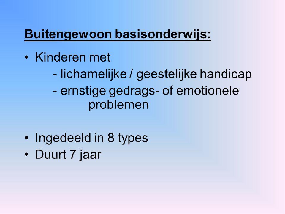 Buitengewoon basisonderwijs: Kinderen met - lichamelijke / geestelijke handicap - ernstige gedrags- of emotionele problemen Ingedeeld in 8 types Duurt