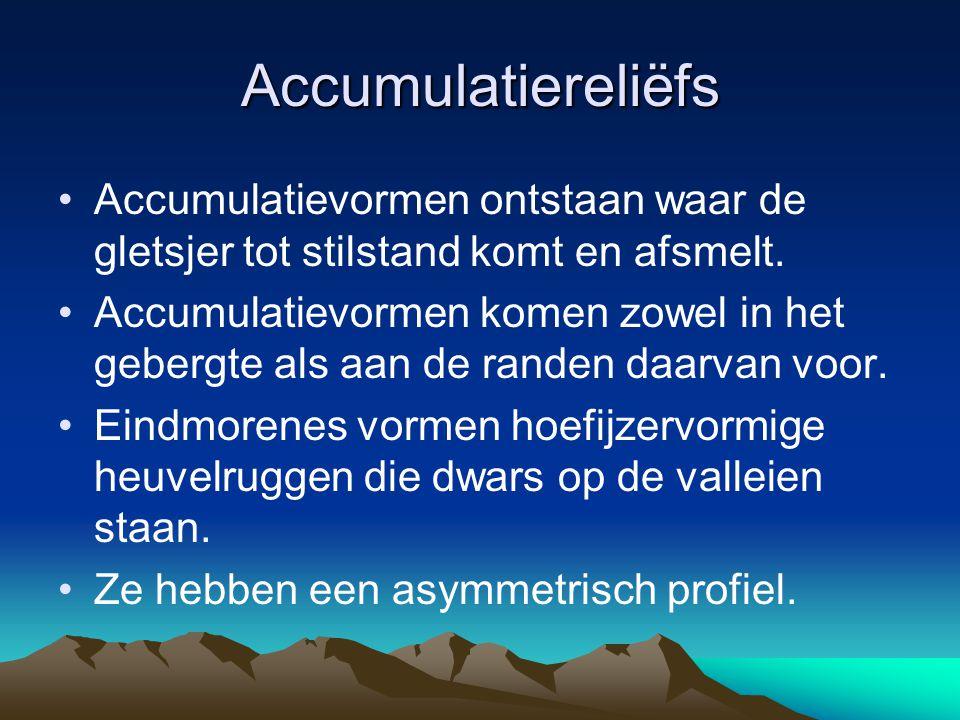 Accumulatiereliëfs Accumulatievormen ontstaan waar de gletsjer tot stilstand komt en afsmelt. Accumulatievormen komen zowel in het gebergte als aan de