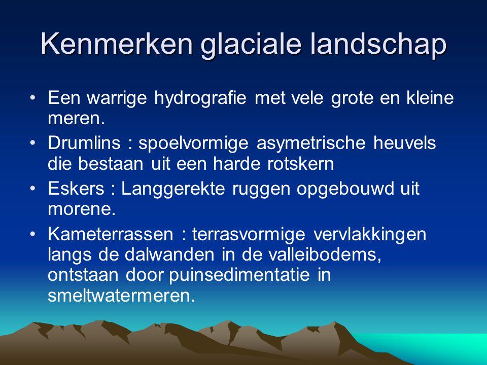 Kenmerken glaciale landschap Een warrige hydrografie met vele grote en kleine meren. Drumlins : spoelvormige asymetrische heuvels die bestaan uit een