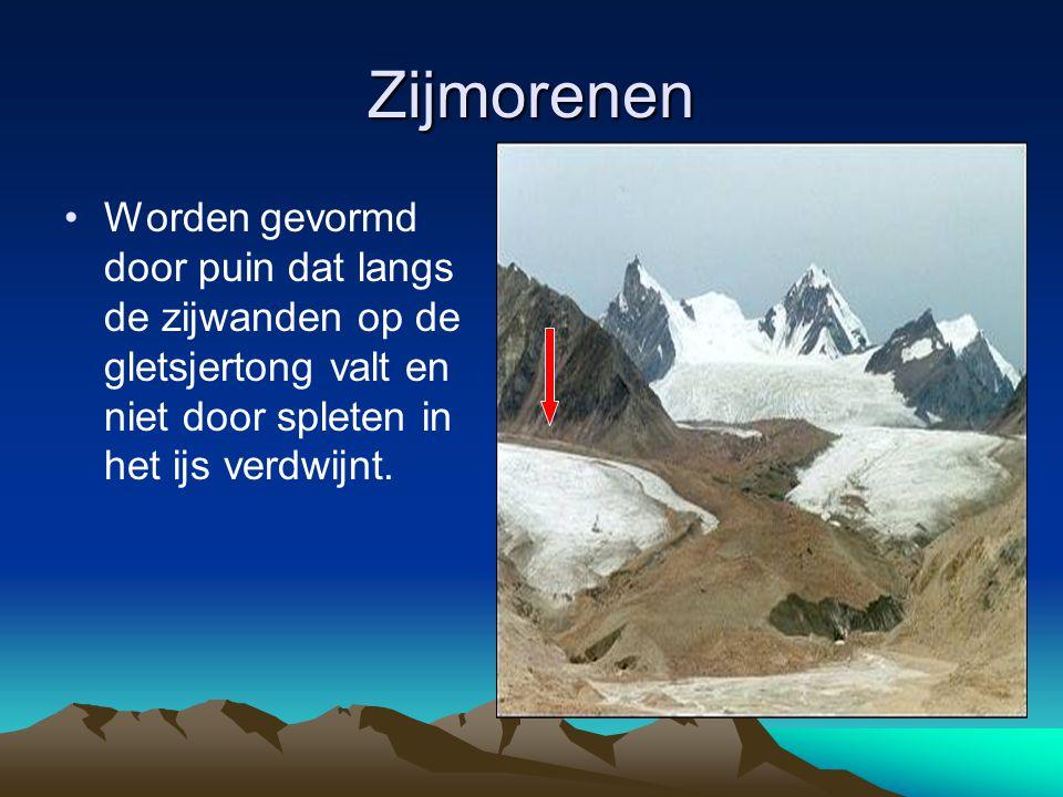 Zijmorenen Worden gevormd door puin dat langs de zijwanden op de gletsjertong valt en niet door spleten in het ijs verdwijnt.