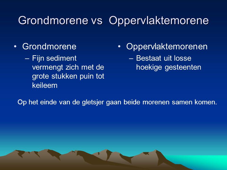 Grondmorene vs Oppervlaktemorene Grondmorene –Fijn sediment vermengt zich met de grote stukken puin tot keileem Oppervlaktemorenen –Bestaat uit losse