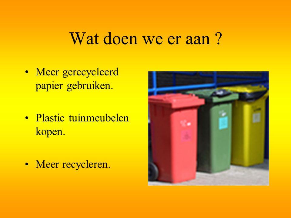Wat doen we er aan .Meer gerecycleerd papier gebruiken.