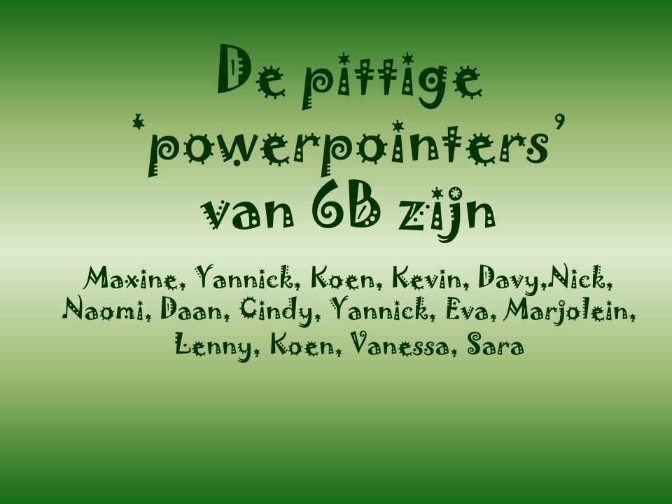 De pittige 'powerpointers' van 6B zijn Maxine, Yannick, Koen, Kevin, Davy,Nick, Naomi, Daan, Cindy, Yannick, Eva, Marjolein, Lenny, Koen, Vanessa, Sara