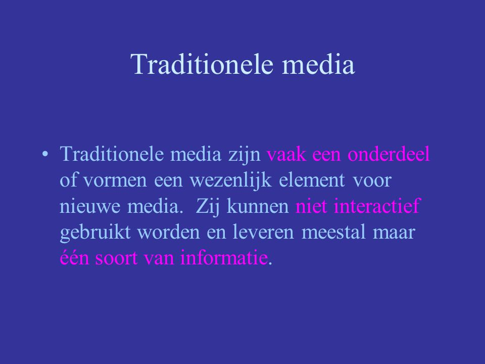Nieuwe media Multimedia is de integratie van diverse type media (tekst, beeld, geluid en data) in een meestal digitale omgeving met als doel communicatie, interactie en dus informatieoverdracht te optimaliseren.