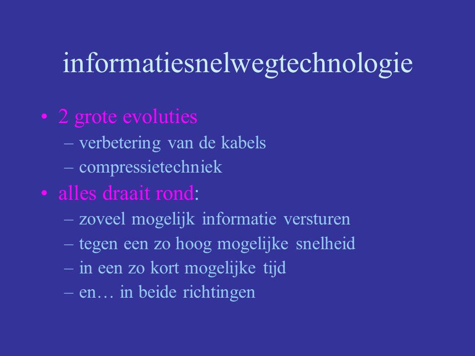 Information highway Al Gore -> 1992 Metafoor voor het ganse web van wegen die internationaal met elkaar verbonden zijn.