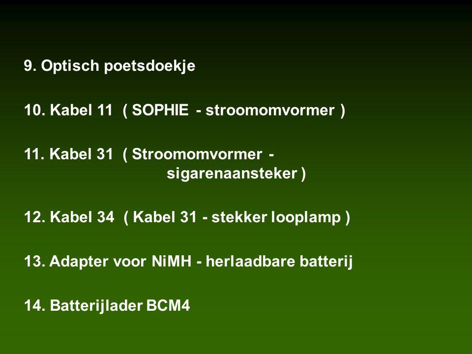 9. Optisch poetsdoekje 10. Kabel 11 ( SOPHIE - stroomomvormer ) 11.