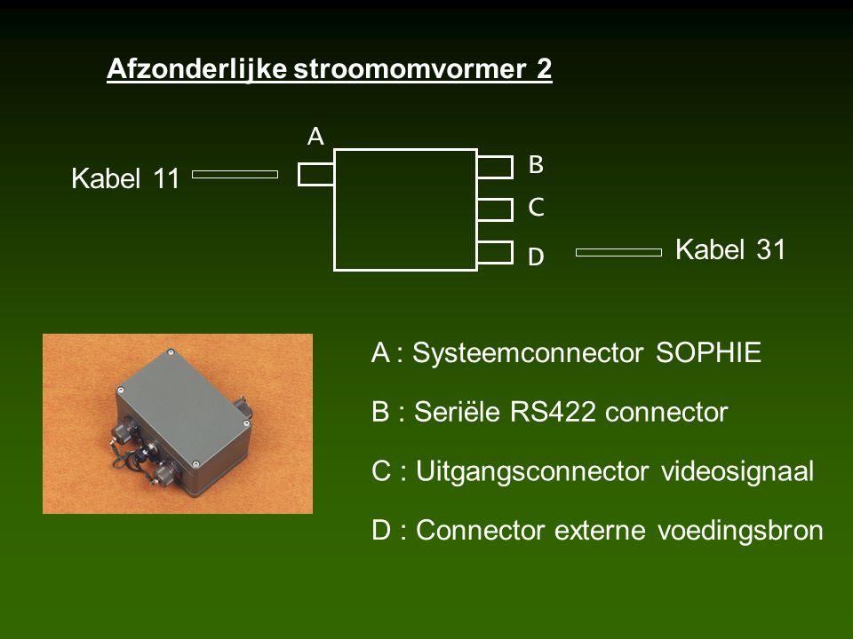 Afzonderlijke stroomomvormer 2 A B C D Kabel 11 Kabel 31 A : Systeemconnector SOPHIE B : Seriële RS422 connector C : Uitgangsconnector videosignaal D : Connector externe voedingsbron