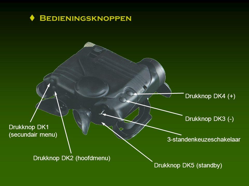 Drukknop DK4 (+) Drukknop DK3 (-) 3-standenkeuzeschakelaar Drukknop DK5 (standby) Drukknop DK2 (hoofdmenu) Drukknop DK1 (secundair menu)  Bedieningsknoppen