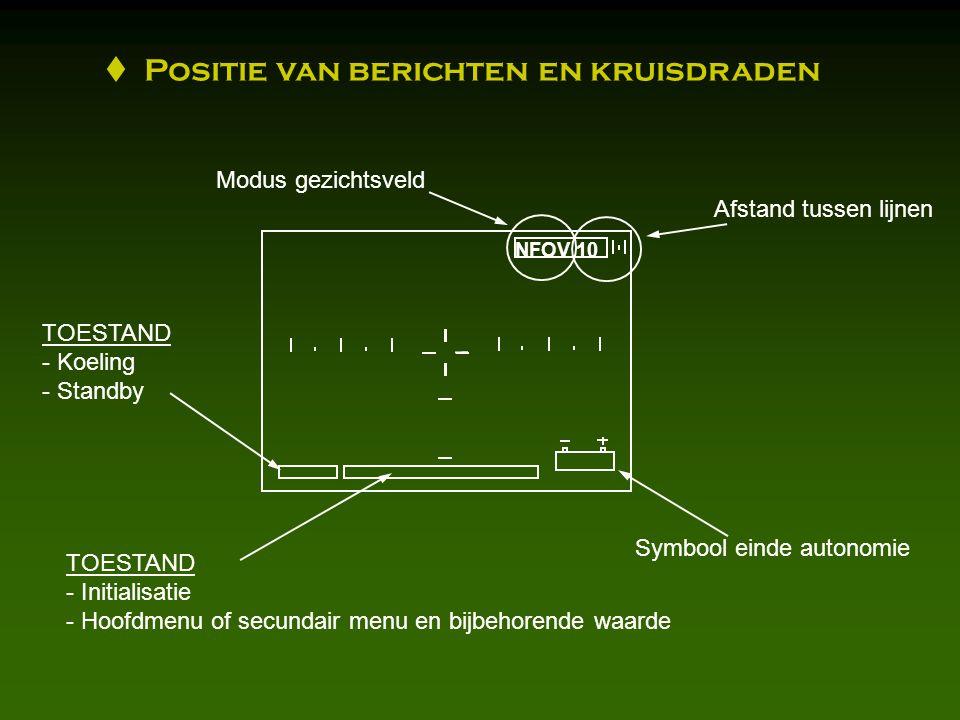NFOV 10 TOESTAND - Initialisatie - Hoofdmenu of secundair menu en bijbehorende waarde TOESTAND - Koeling - Standby Symbool einde autonomie Modus gezichtsveld Afstand tussen lijnen  Positie van berichten en kruisdraden
