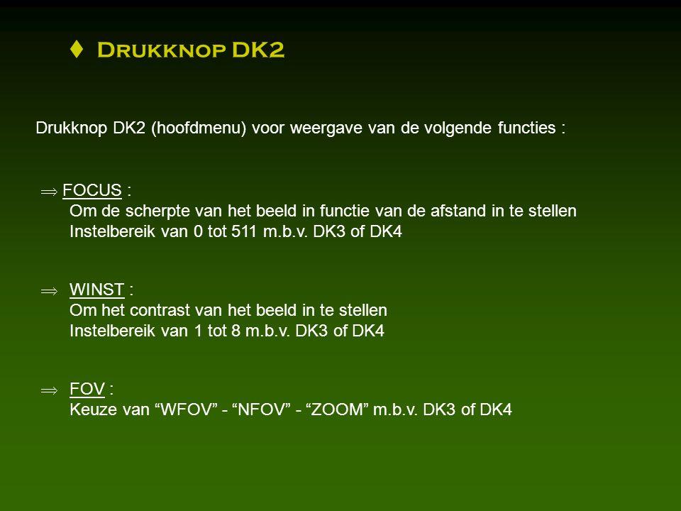 Drukknop DK2 (hoofdmenu) voor weergave van de volgende functies :  FOCUS : Om de scherpte van het beeld in functie van de afstand in te stellen Instelbereik van 0 tot 511 m.b.v.