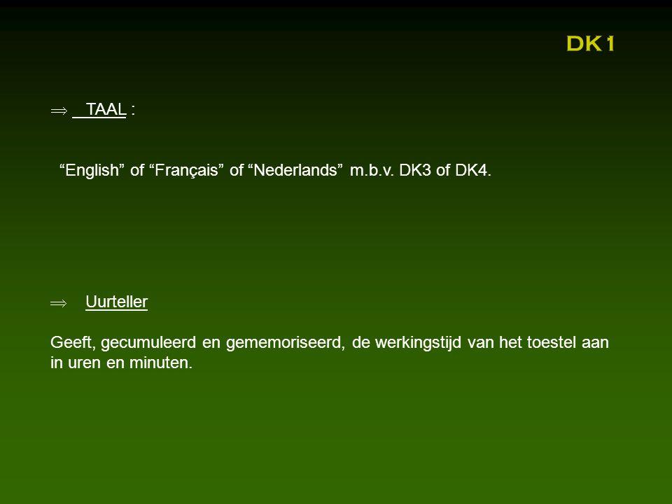  TAAL : English of Français of Nederlands m.b.v.