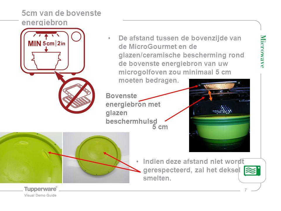 7 5cm van de bovenste energiebron De afstand tussen de bovenzijde van de MicroGourmet en de glazen/ceramische bescherming rond de bovenste energiebron