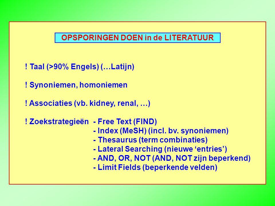 OPSPORINGEN DOEN in de LITERATUUR . Taal (>90% Engels) (…Latijn) .