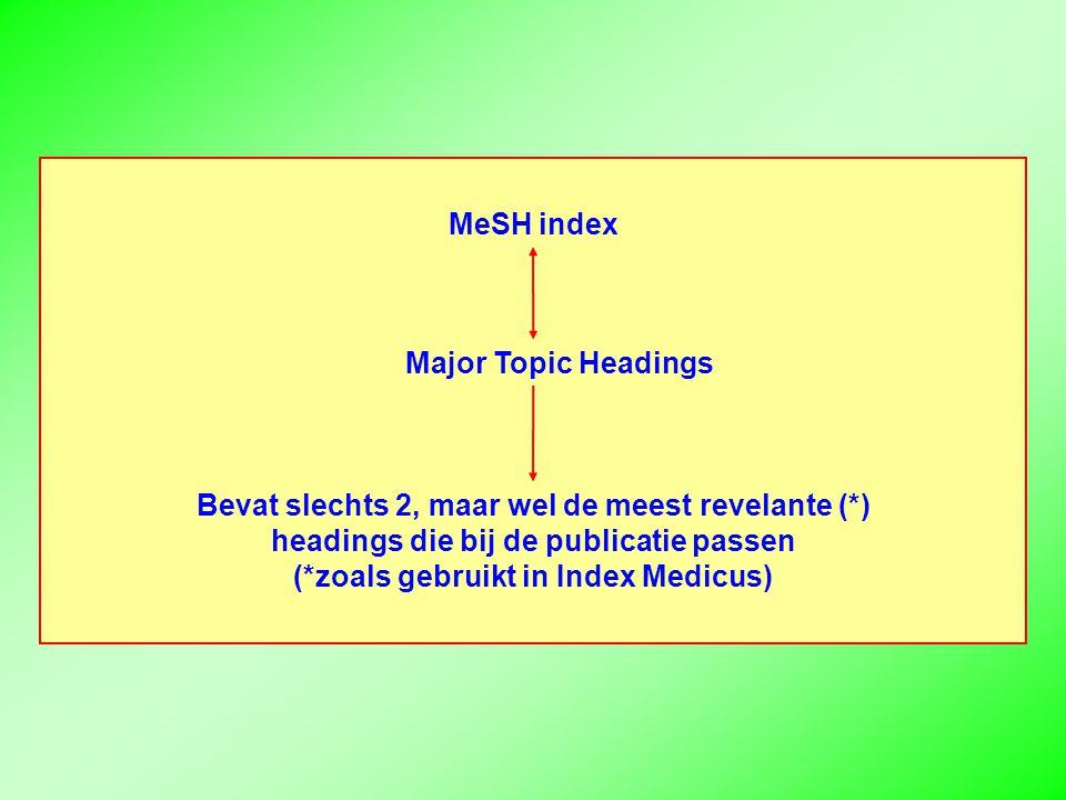 MeSH index Major Topic Headings Bevat slechts 2, maar wel de meest revelante (*) headings die bij de publicatie passen (*zoals gebruikt in Index Medicus)